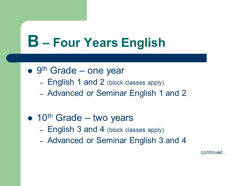 B – Four Years English 9th Grade – one year 10th Grade – two years