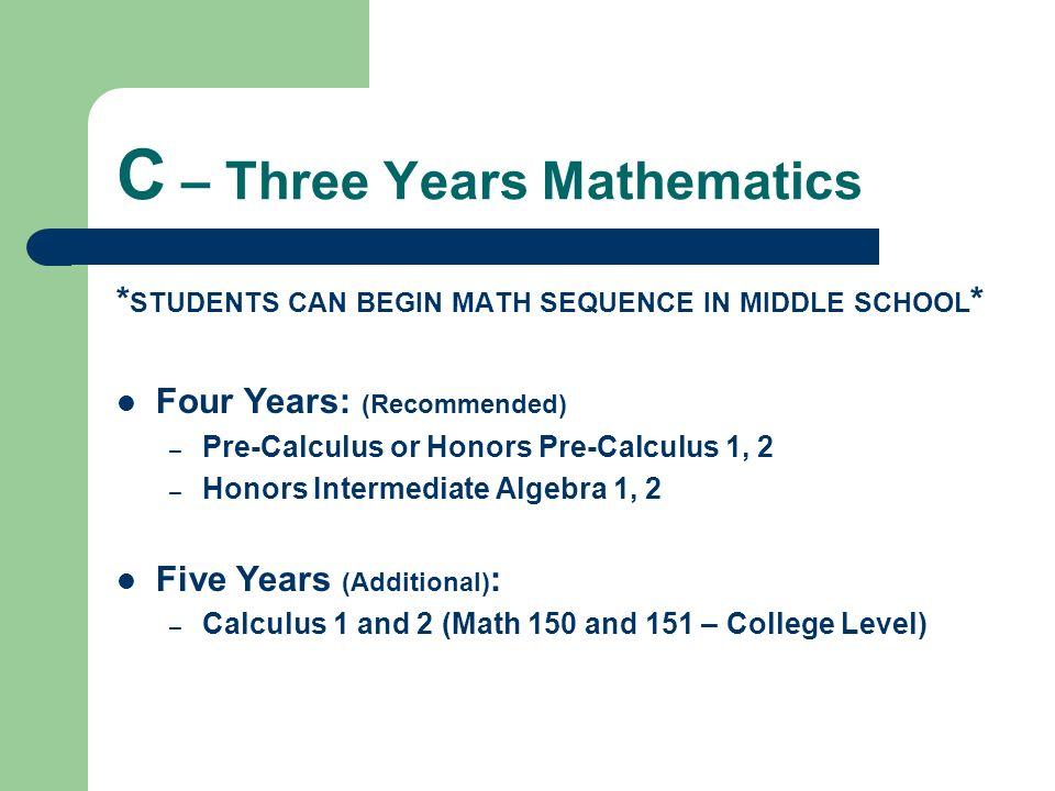 C – Three Years Mathematics