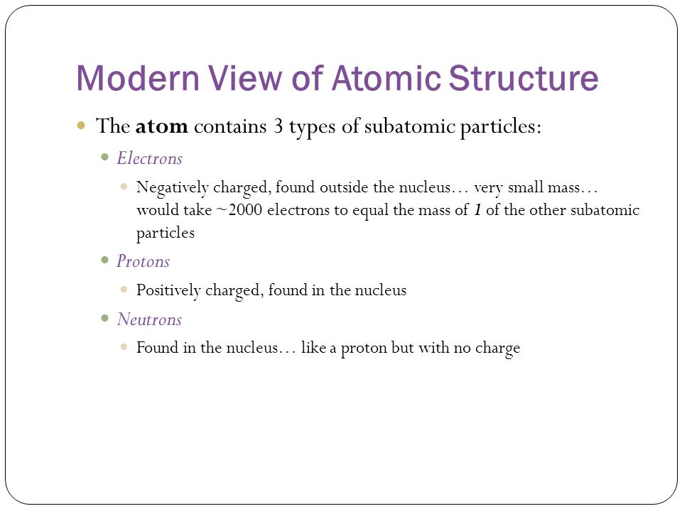 Modern View of Atomic Structure