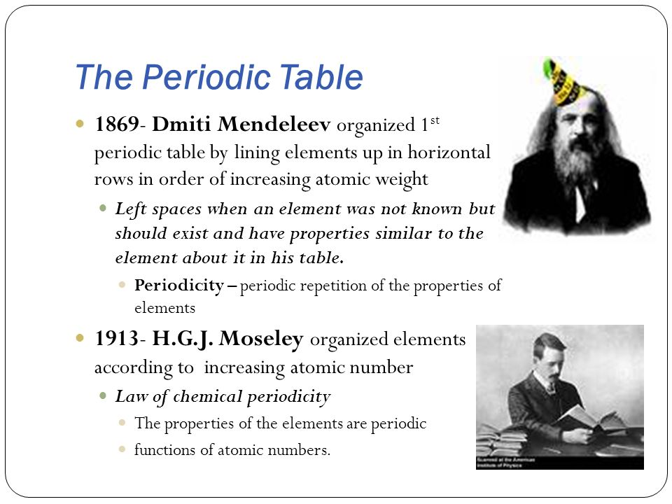 The Periodic Table 1869- Dmiti Mendeleev organized 1st periodic table by lining elements up in horizontal rows in order of increasing atomic weight.