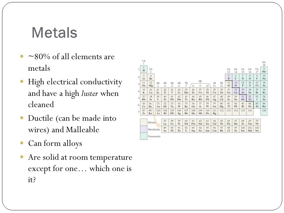 Metals ~80% of all elements are metals