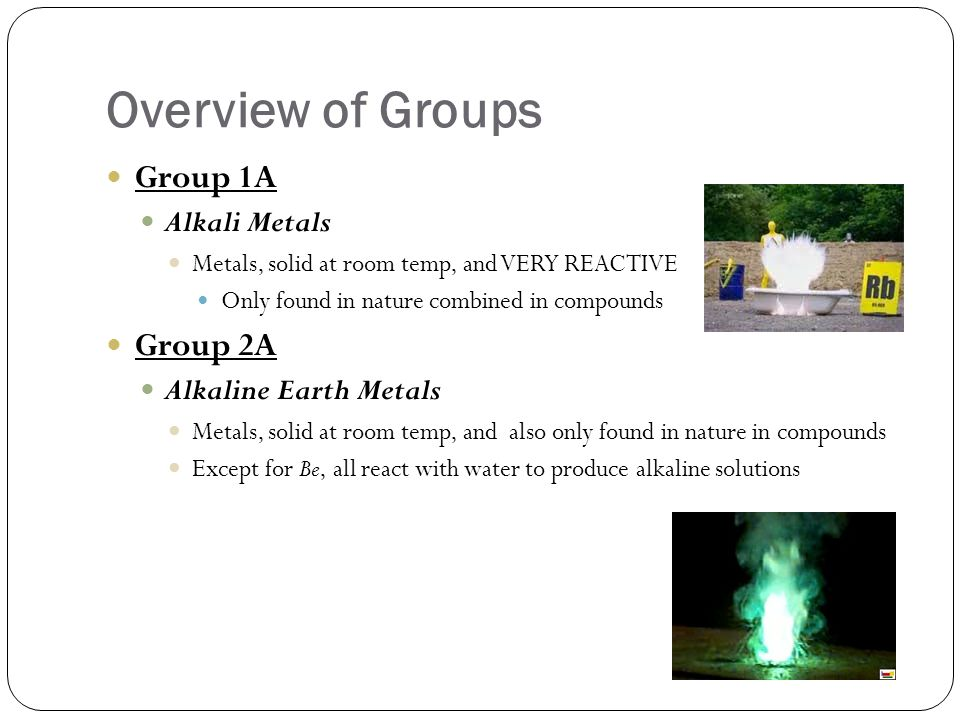 Overview of Groups Group 1A Group 2A Alkali Metals