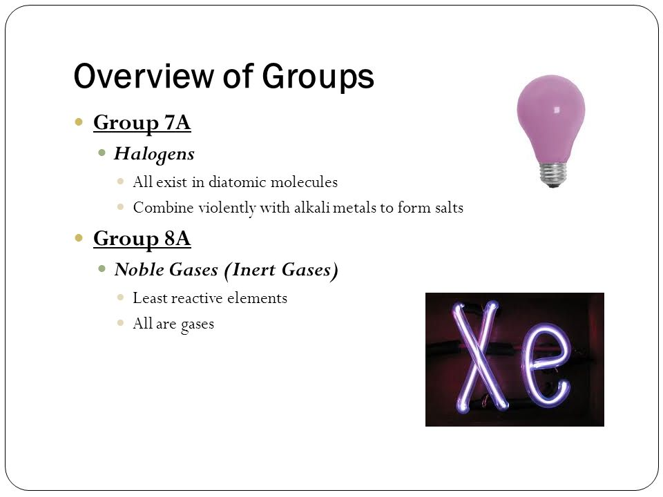 Overview of Groups Group 7A Group 8A Halogens