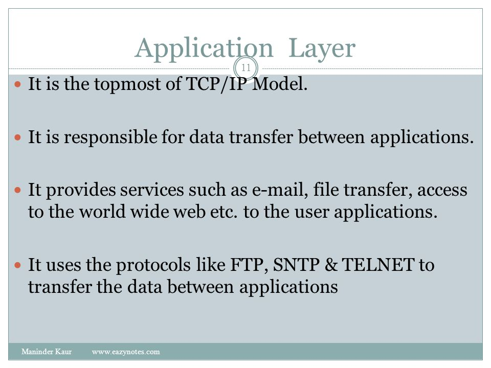 Application Layer It is the topmost of TCP/IP Model.
