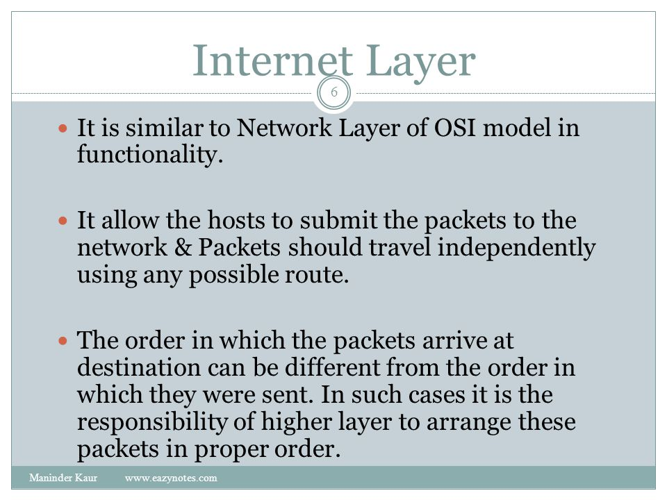 Internet Layer It is similar to Network Layer of OSI model in functionality.