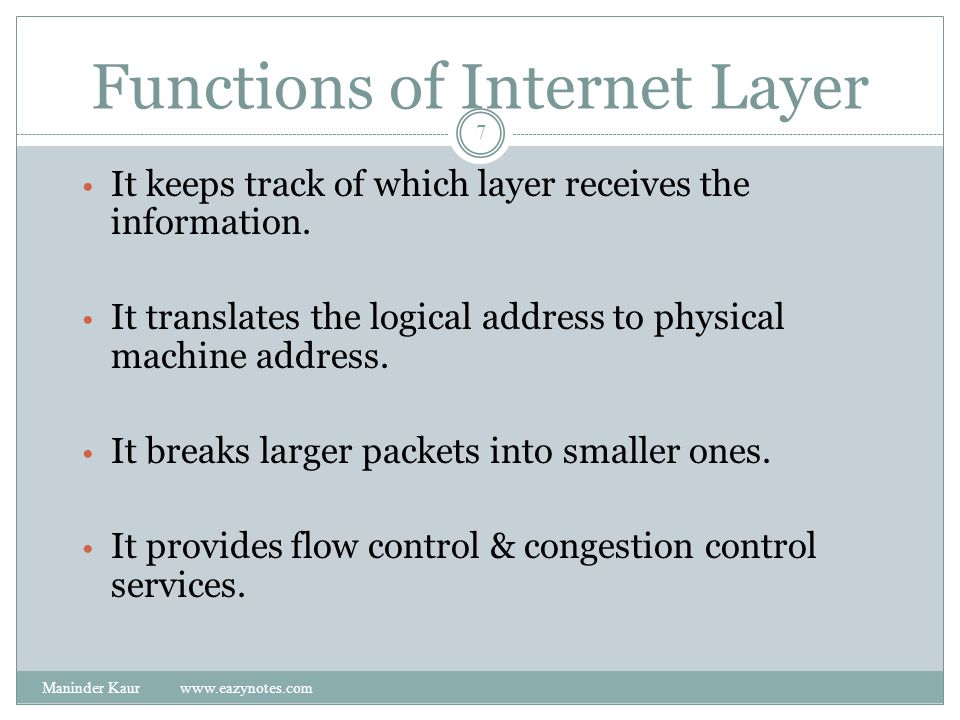 Functions of Internet Layer