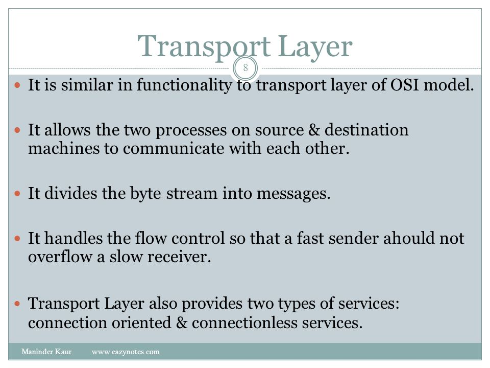 Transport Layer It is similar in functionality to transport layer of OSI model.