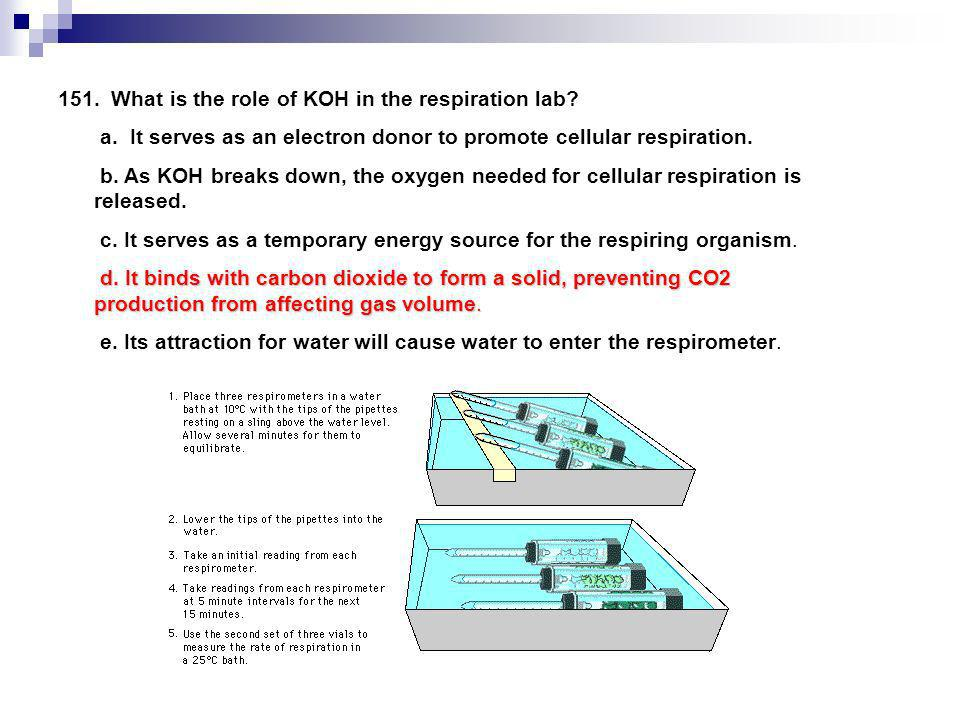 151. What is the role of KOH in the respiration lab