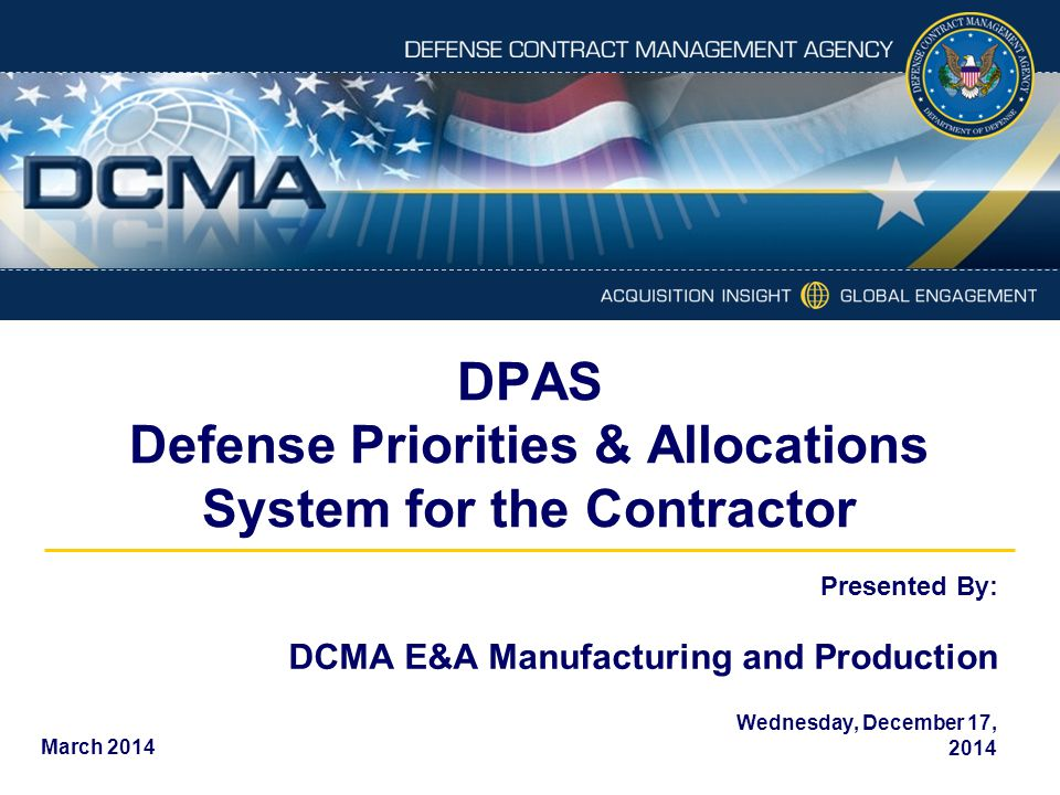 DPAS Defense Priorities & Allocations System for the Contractor