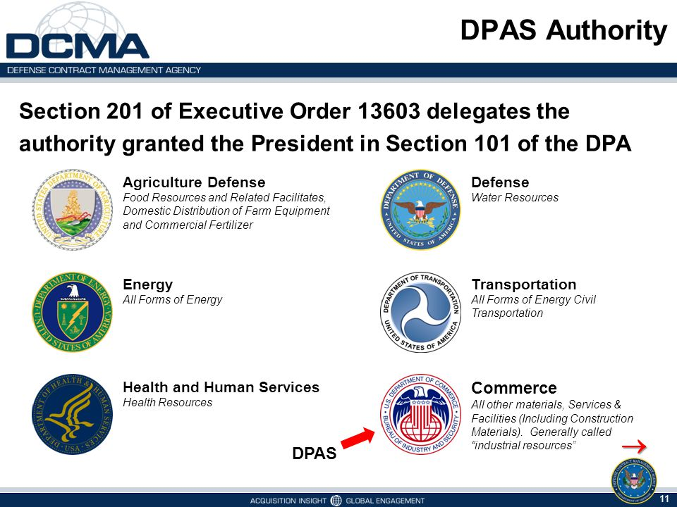 DPAS Authority Section 201 of Executive Order 13603 delegates the authority granted the President in Section 101 of the DPA.