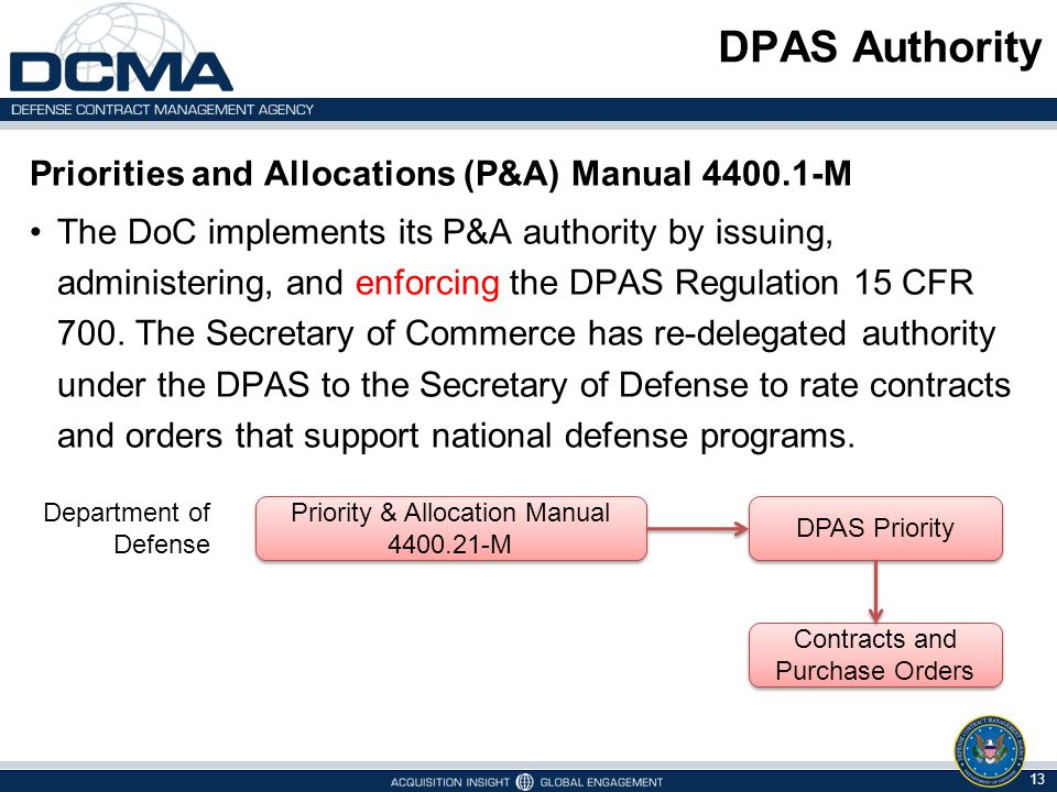DPAS Authority Priorities and Allocations (P&A) Manual 4400.1-M