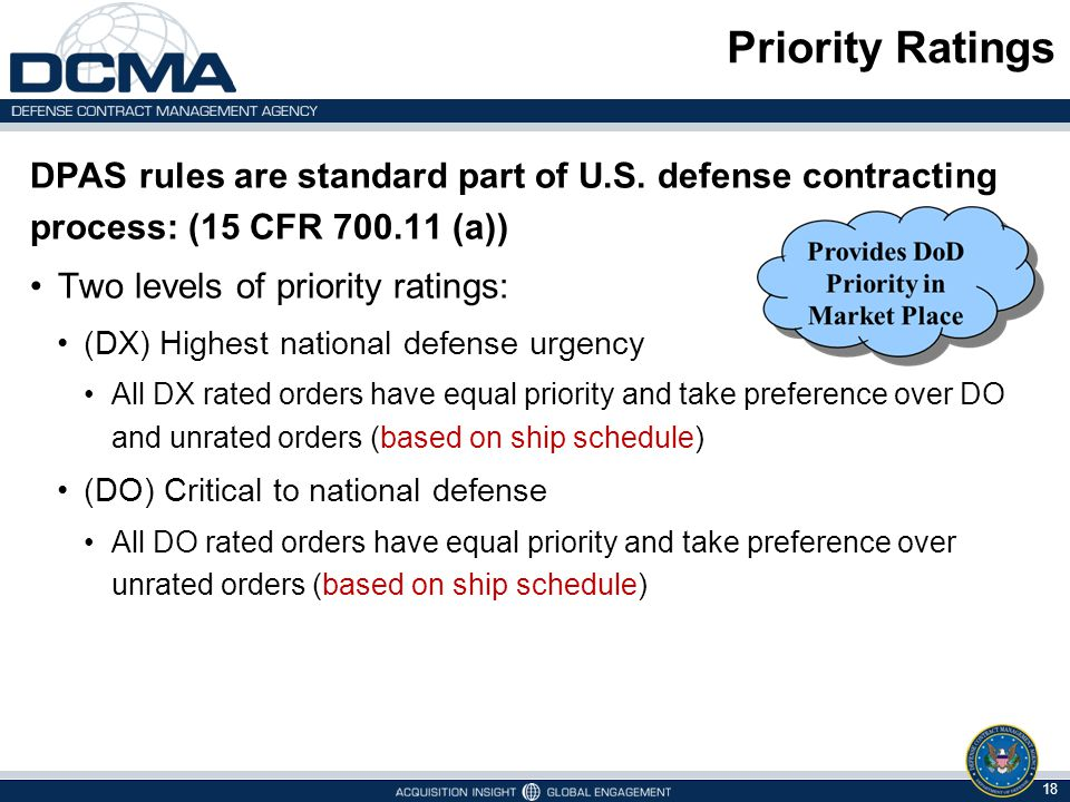 Priority Ratings DPAS rules are standard part of U.S. defense contracting process: (15 CFR 700.11 (a))