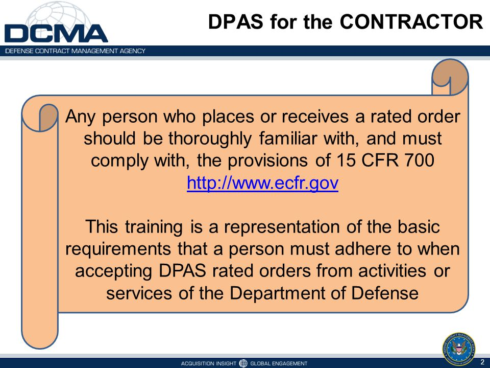 DPAS for the CONTRACTOR