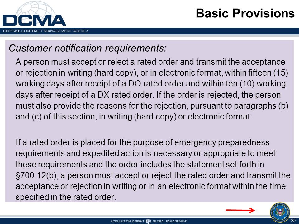 Basic Provisions Customer notification requirements: