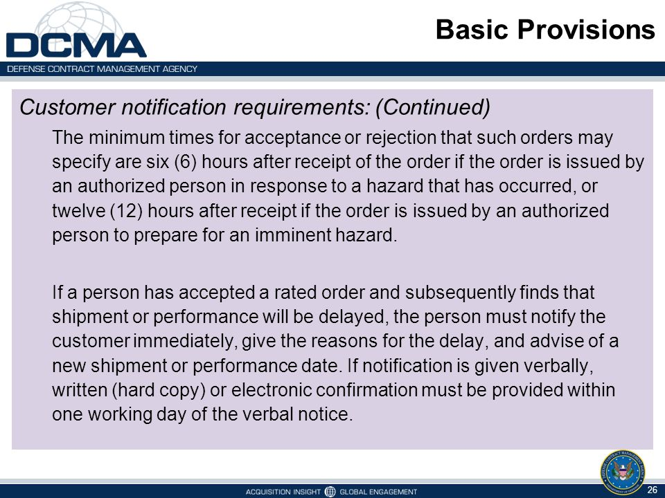 Basic Provisions Customer notification requirements: (Continued)