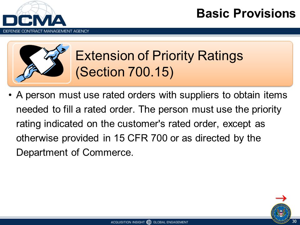 Extension of Priority Ratings (Section 700.15)