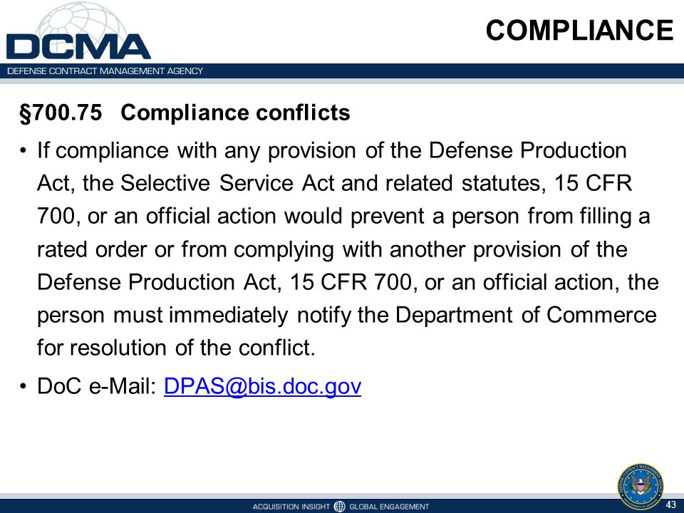 COMPLIANCE §700.75 Compliance conflicts