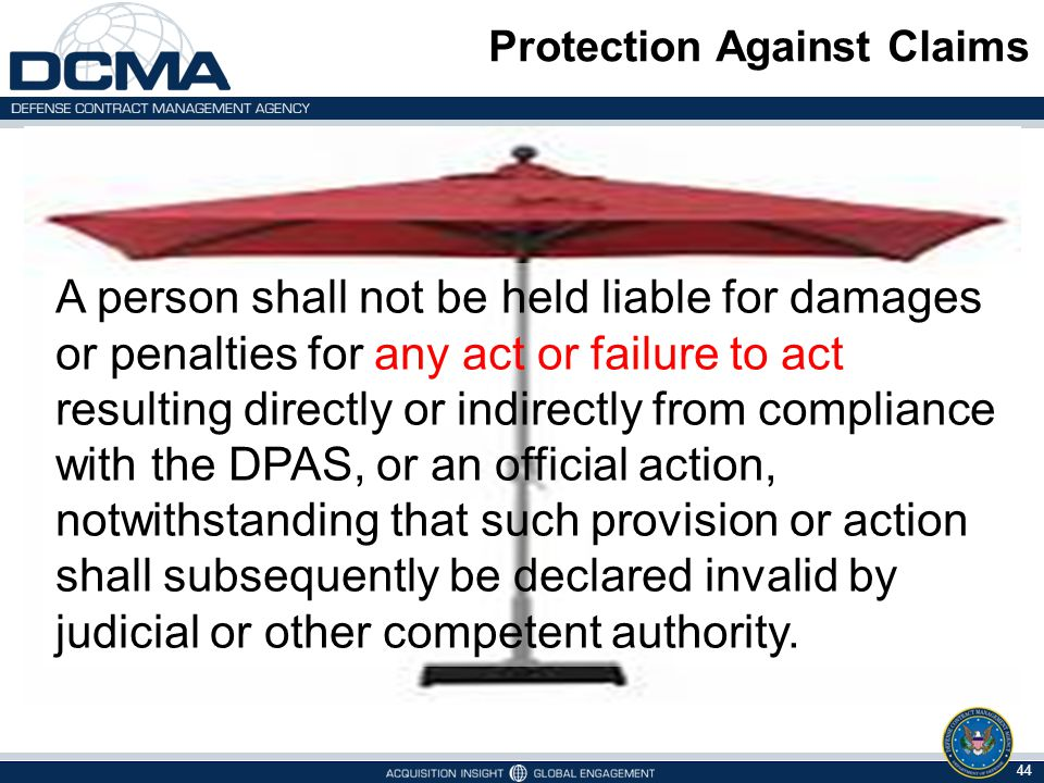 Protection Against Claims