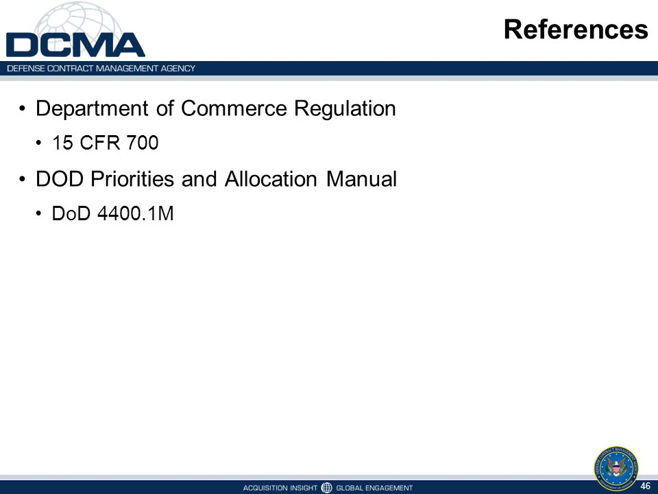 References Department of Commerce Regulation