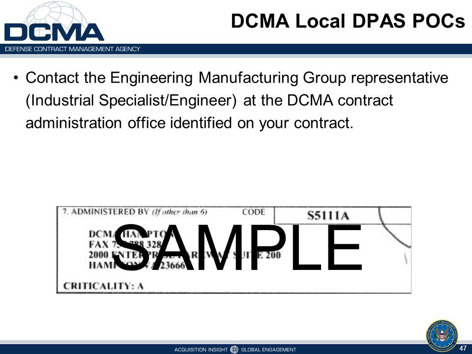 SAMPLE SAMPLE DCMA Local DPAS POCs