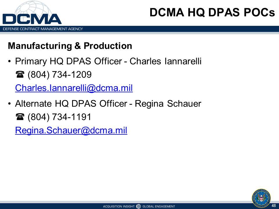 DCMA HQ DPAS POCs Manufacturing & Production