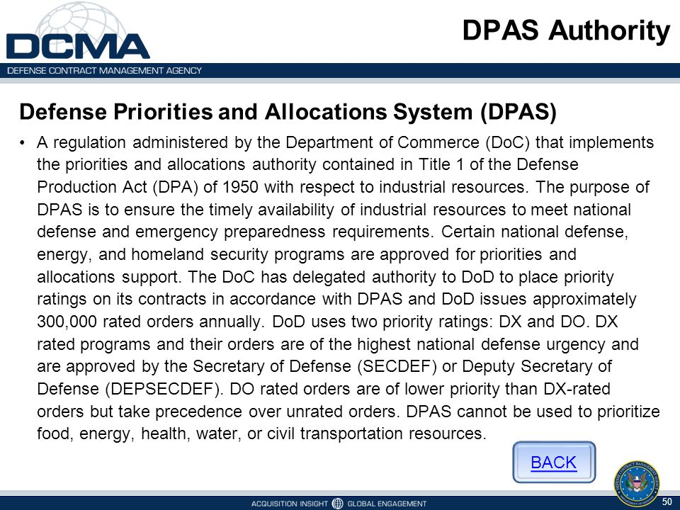 DPAS Authority Defense Priorities and Allocations System (DPAS)