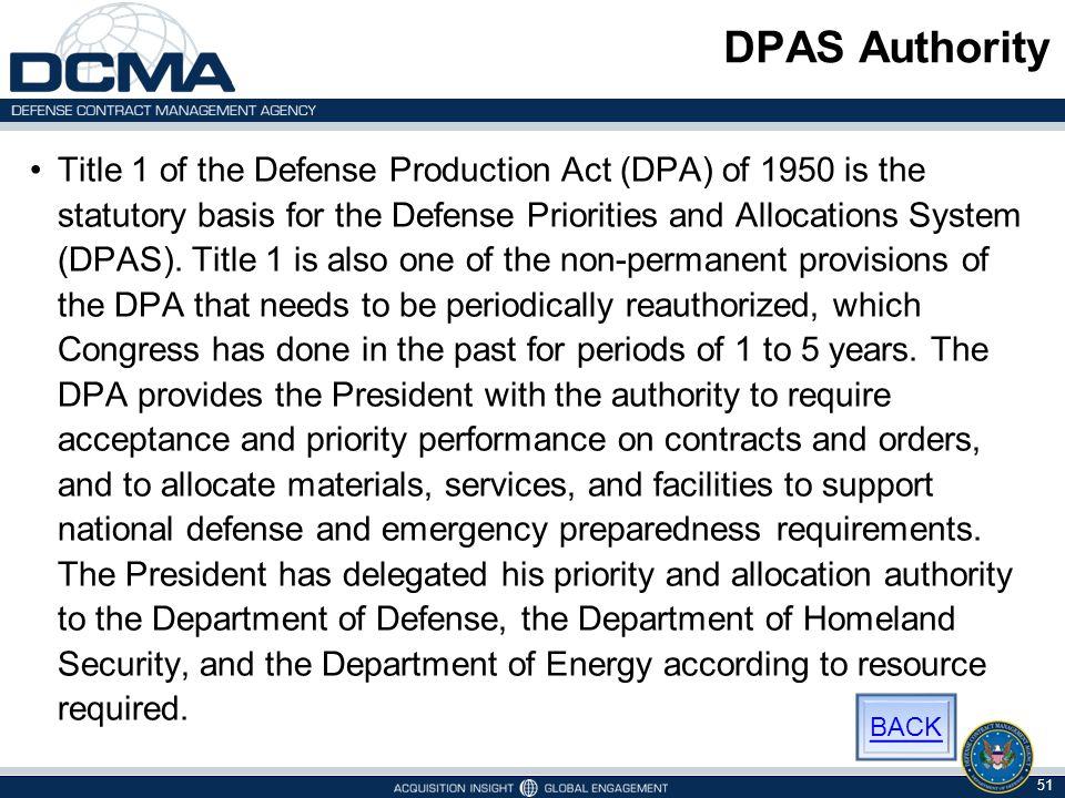 DPAS Authority