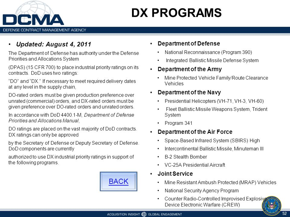 DX PROGRAMS BACK Updated: August 4, 2011 Department of Defense