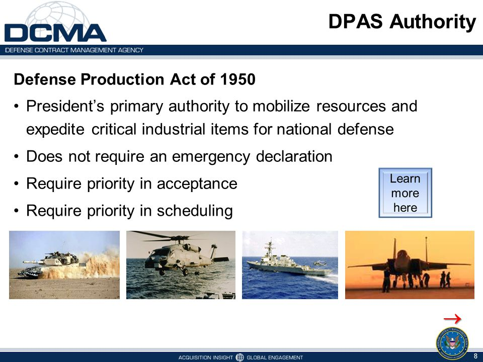 DPAS Authority  Defense Production Act of 1950