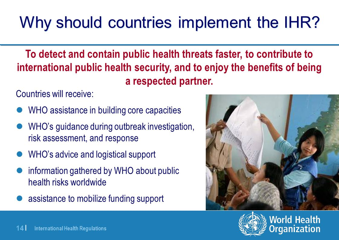 Why should countries implement the IHR