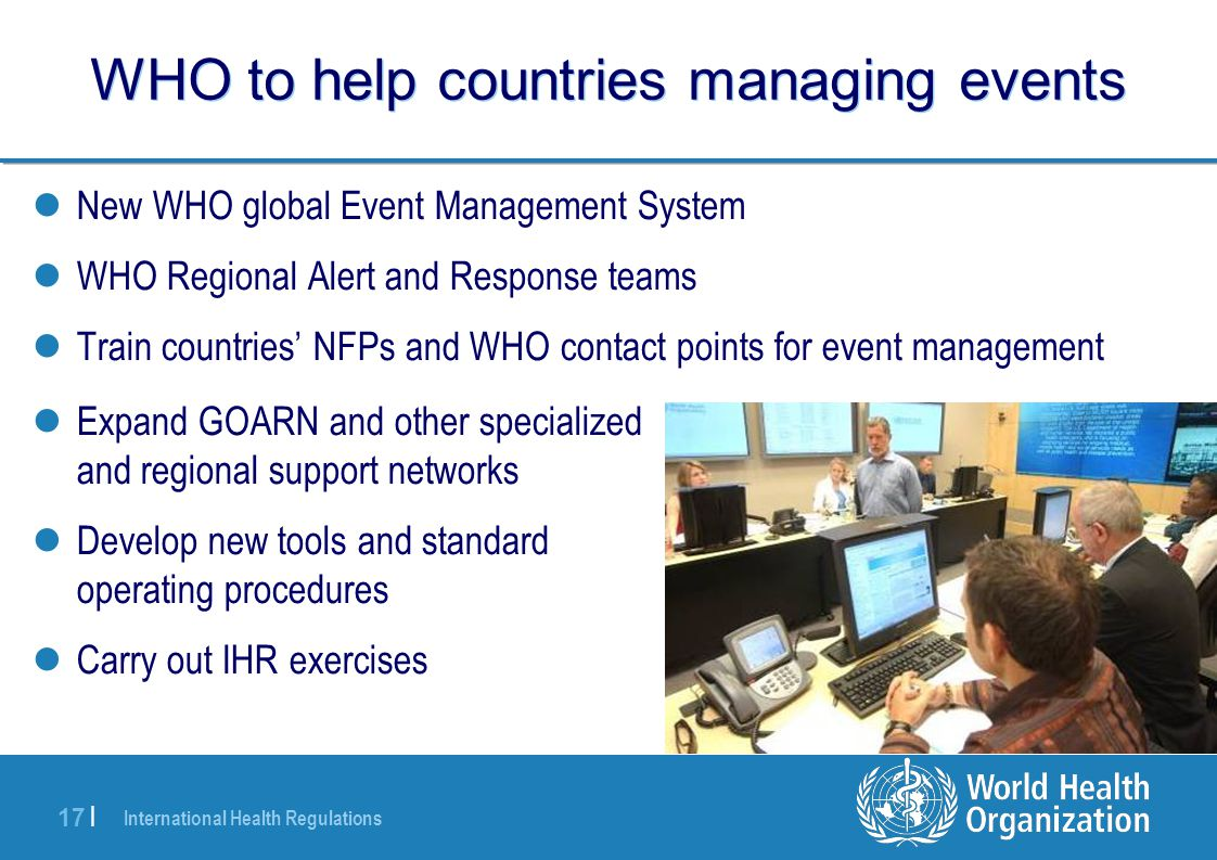 WHO to help countries managing events