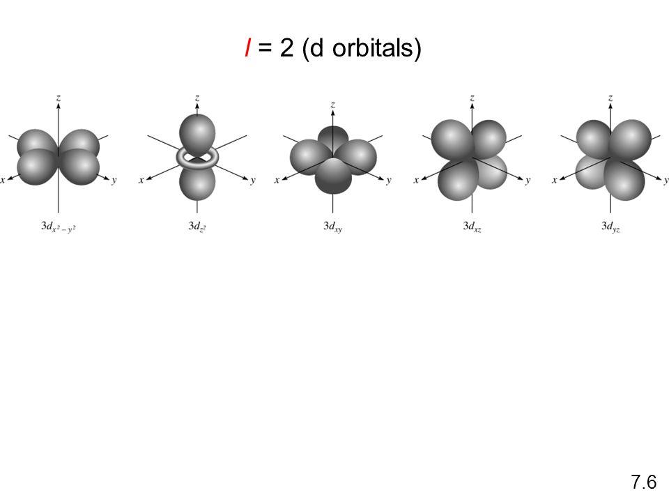 l = 2 (d orbitals) 7.6