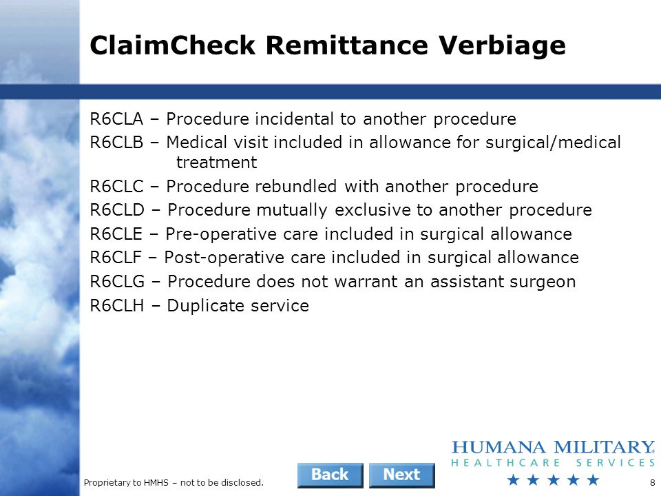 ClaimCheck Remittance Verbiage