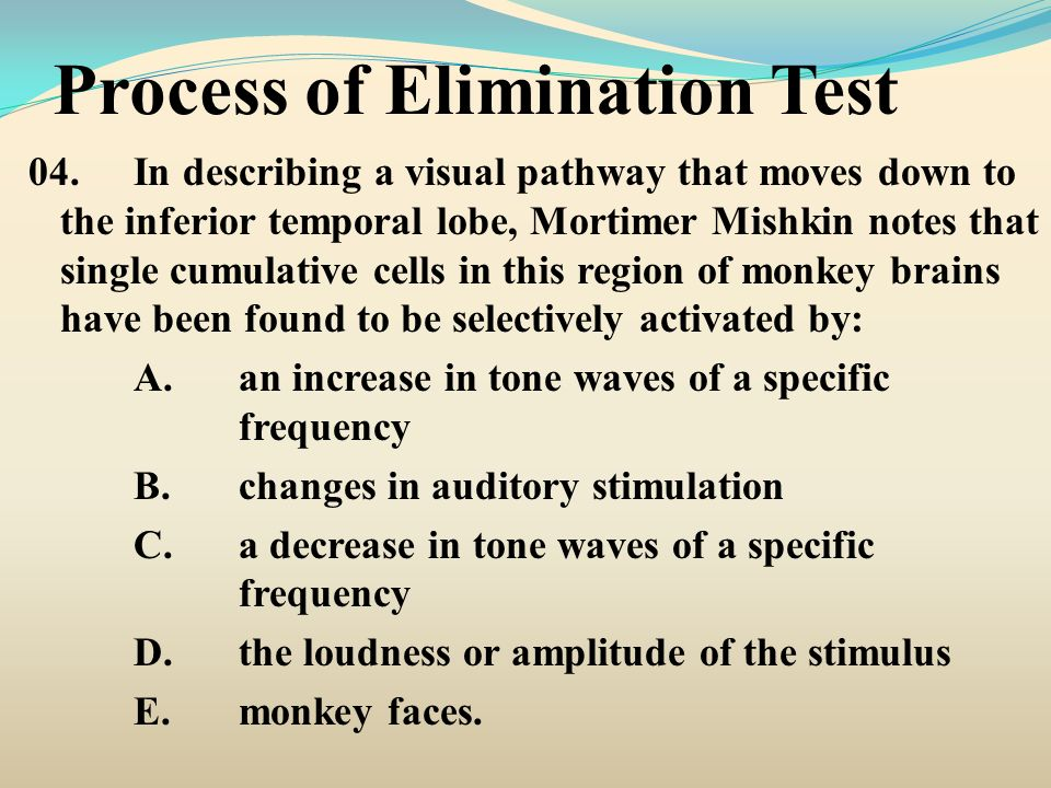 Process of Elimination Test