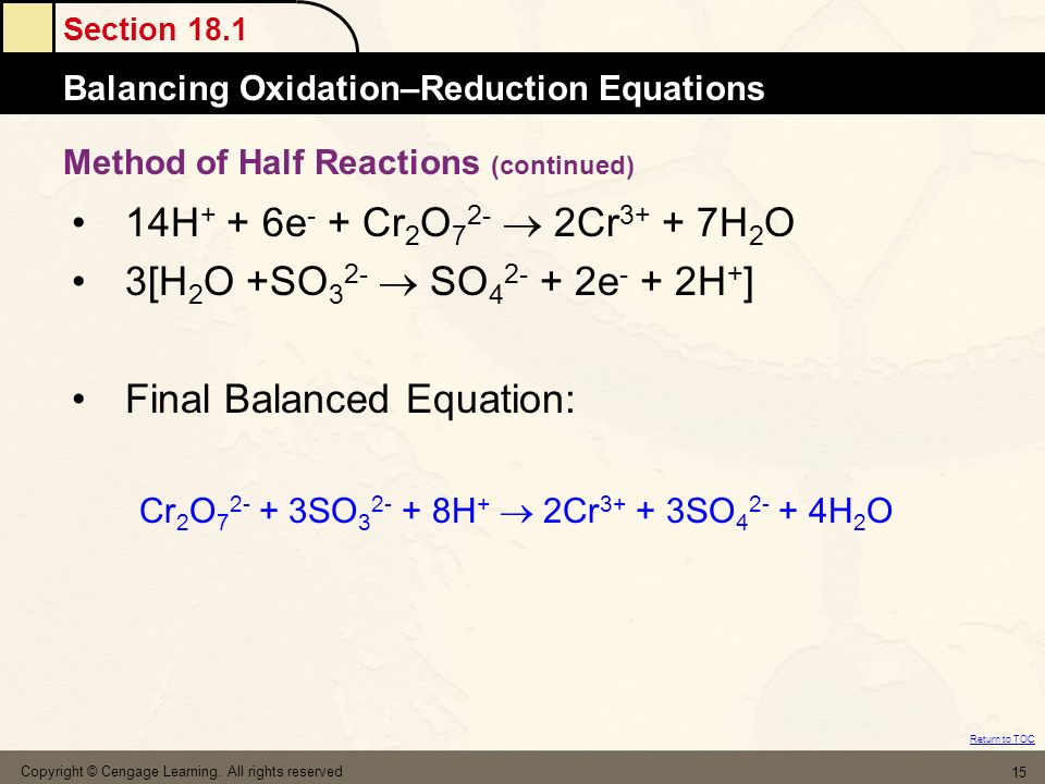Method of Half Reactions (continued)