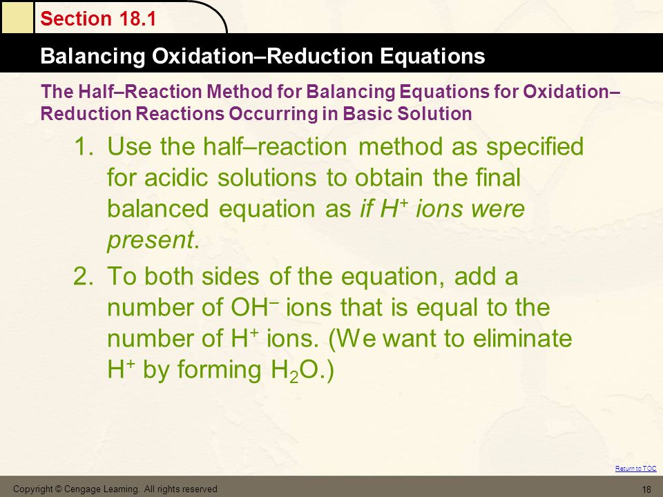 The Half–Reaction Method for Balancing Equations for Oxidation–Reduction Reactions Occurring in Basic Solution