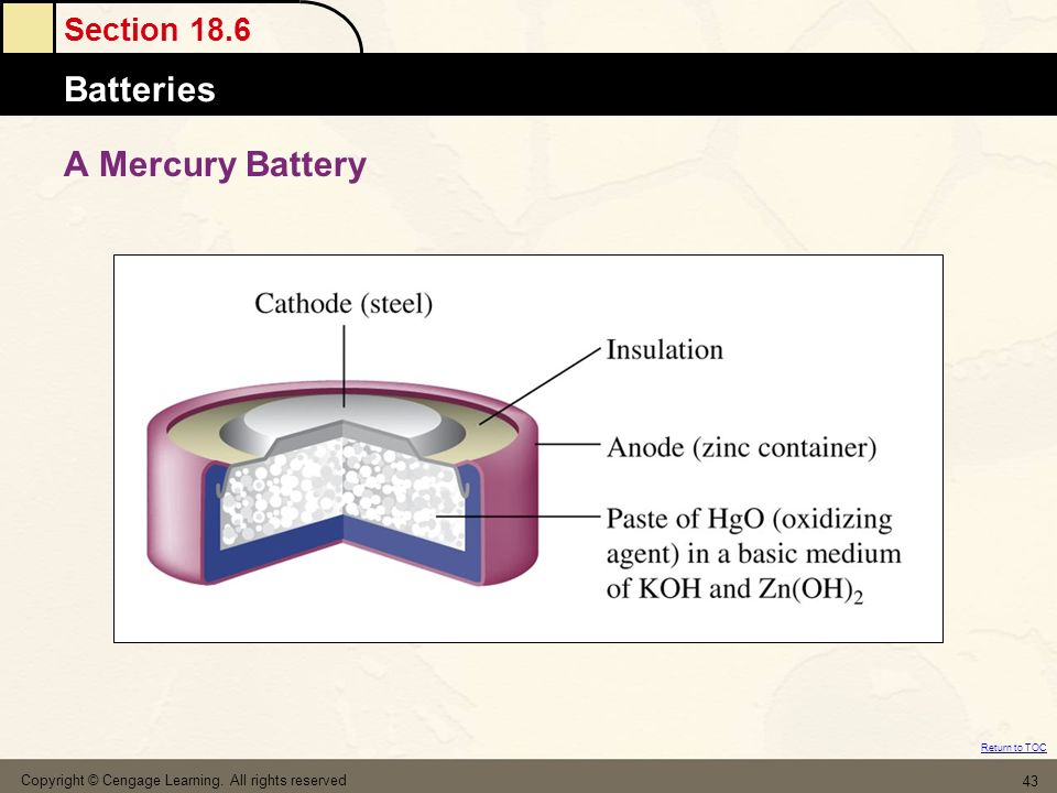 A Mercury Battery Copyright © Cengage Learning. All rights reserved