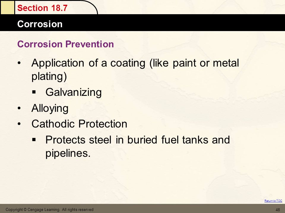 Application of a coating (like paint or metal plating) Galvanizing