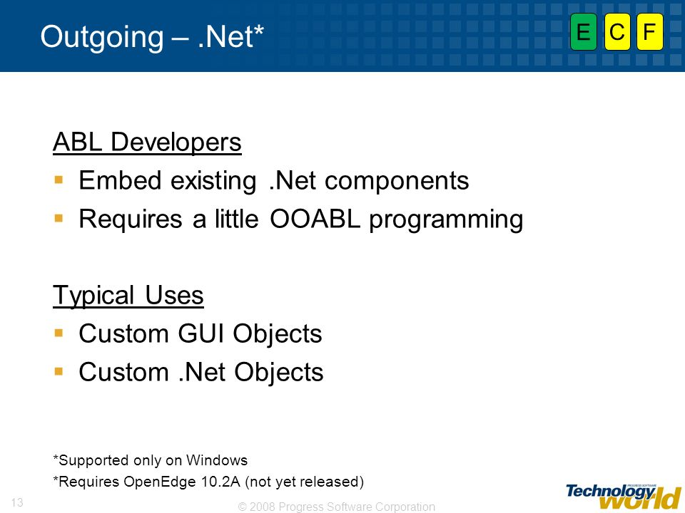Outgoing – .Net* ABL Developers Embed existing .Net components