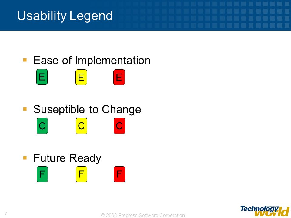 Usability Legend Ease of Implementation Suseptible to Change
