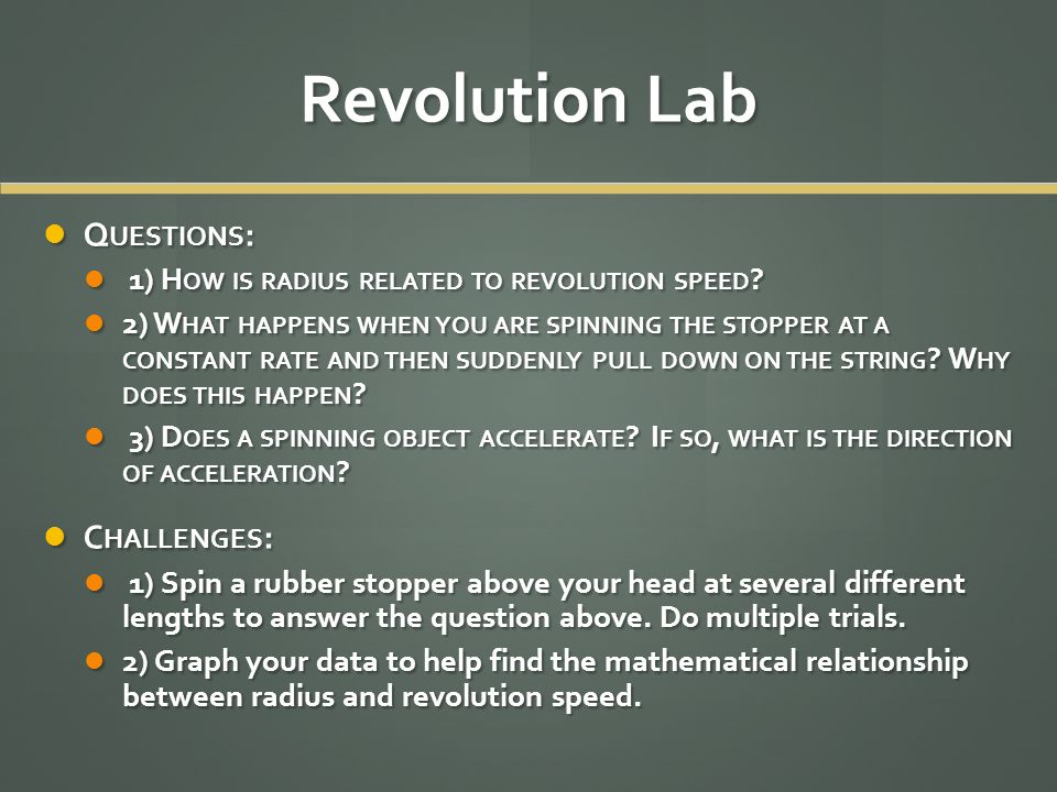 Revolution Lab Questions: Challenges: