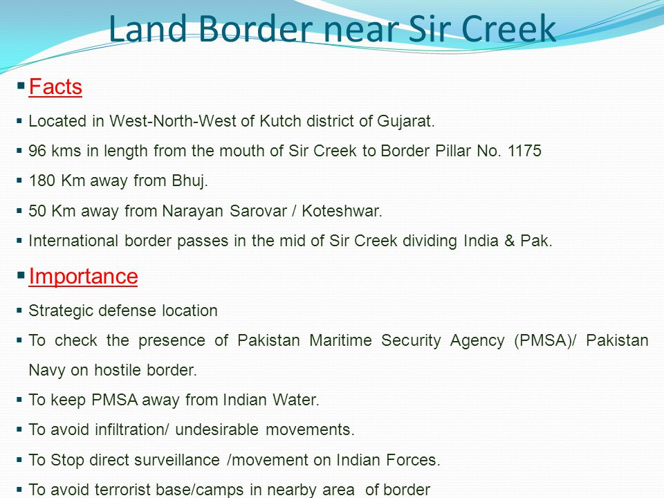 Land Border near Sir Creek