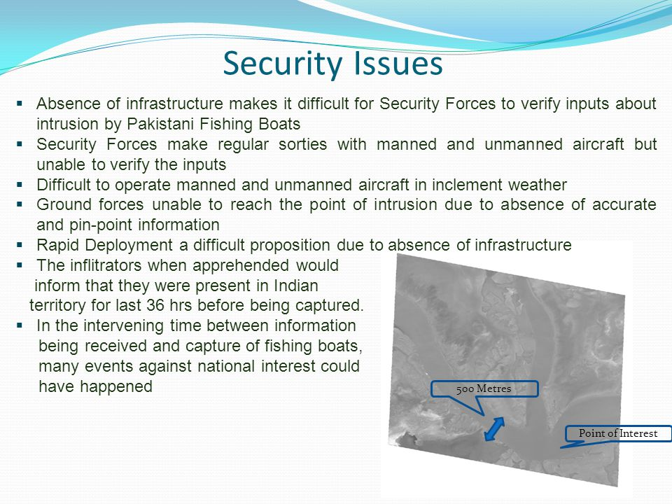 Security Issues Absence of infrastructure makes it difficult for Security Forces to verify inputs about intrusion by Pakistani Fishing Boats.