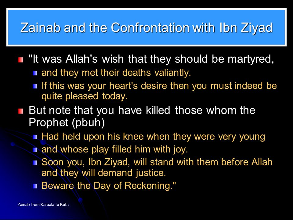 Zainab and the Confrontation with Ibn Ziyad