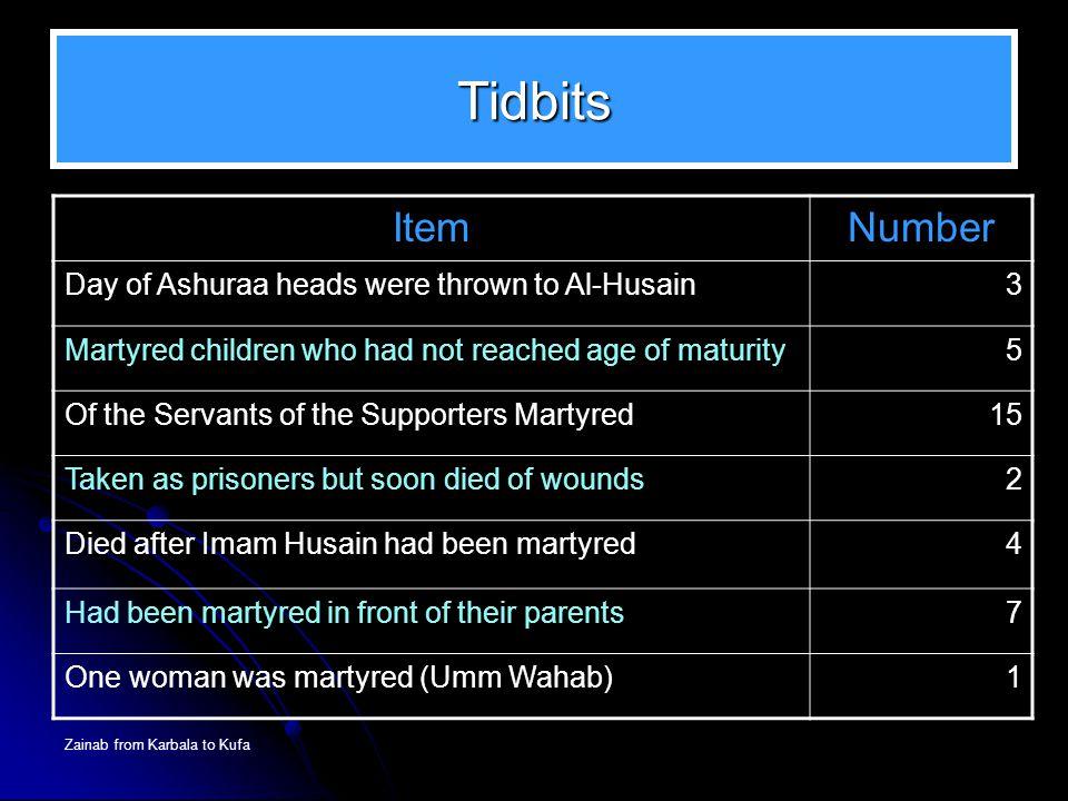 Tidbits Item Number Day of Ashuraa heads were thrown to Al-Husain 3