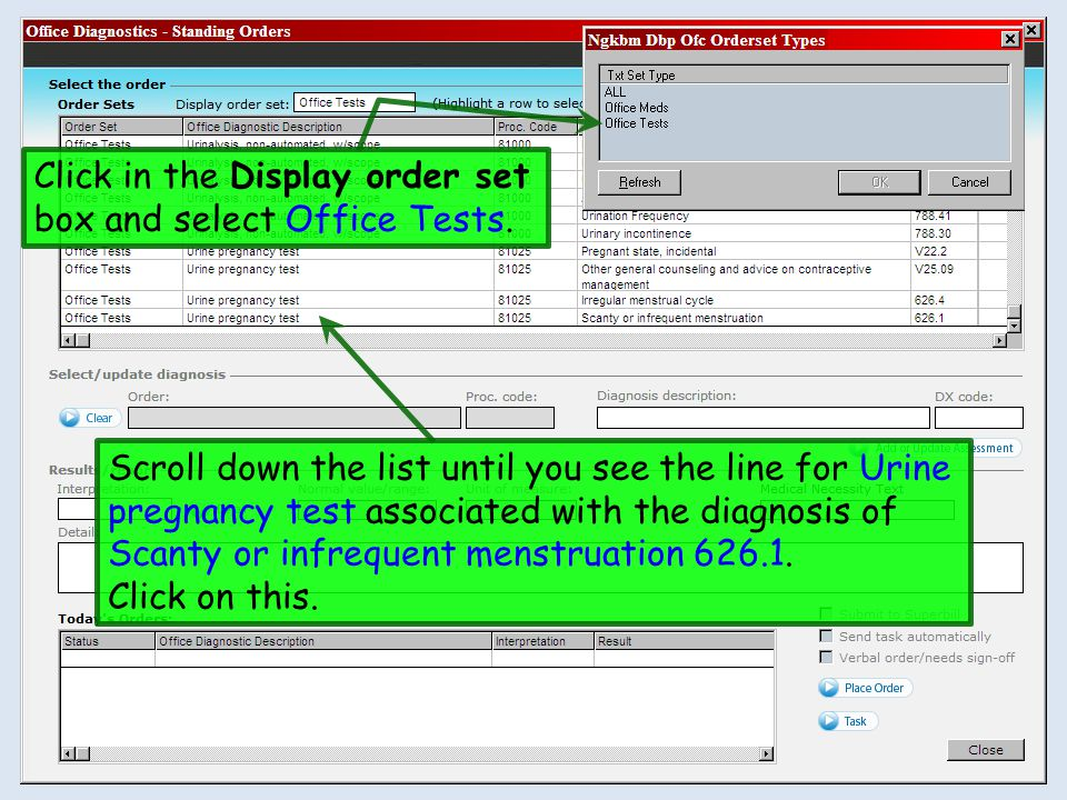 Click in the Display order set box and select Office Tests.