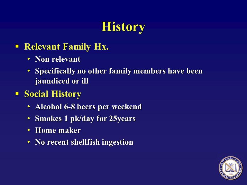 History Relevant Family Hx. Social History Non relevant