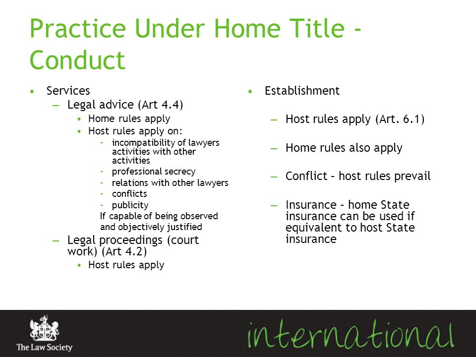 Practice Under Home Title - Conduct