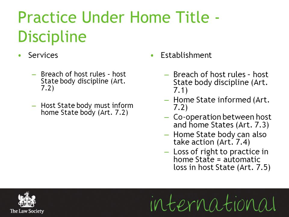 Practice Under Home Title - Discipline