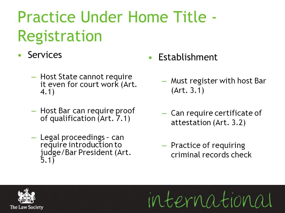 Practice Under Home Title - Registration